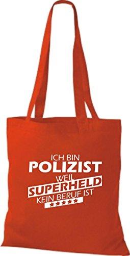 Shirtstown Stoffbeutel Ich bin Polizist, weil Superheld kein Beruf ist rot