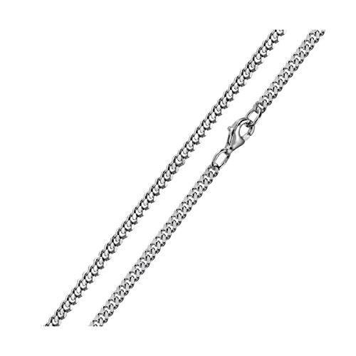 MATERIA 3mm Panzerkette Silber 925 diamantiert rhodiniert Halskette Herren Damen silber in 40-80 cm #K27, Länge Halskette:60 cm