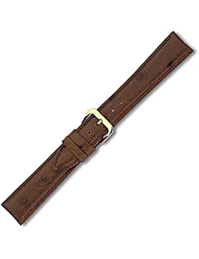 Eichmüller Lederband mit Straussprägung dunkelbraun - 18mm - goldfarbene Schließe