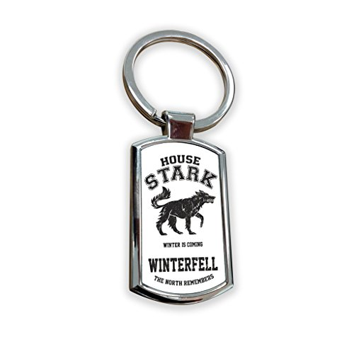 Game of Thrones Fantasy Got Serie TV USA zeigen Schlüsselanhänger Metall Charm Anhänger Schlüssel Ring Schlüsselanhänger Bag Tag Schlüsselanhänger–House Stark Winterfell–North merkt (School Billig Girl Outfits)
