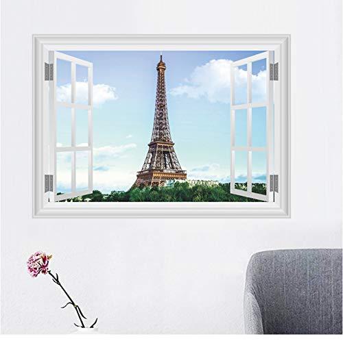 qingci Paris Eiffelturm Wandaufkleber Wohnzimmer Schlafzimmer Restaurant Tv Sofa Hintergrund Dekoration 3D Fenster Wandtattoos Wohnkultur
