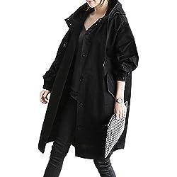 Sevozimda La Mujer Casual con Capucha Drawstring Botón BF Estilo Gabardina Outwear Black One Size