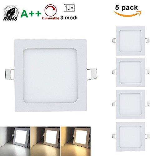 Preisvergleich Produktbild Hengda® LED Quadratisches Deckenleuchten, Super hell mit Trafo,  Eckig Panel Deckenleuchte Einbauleuchte Downlight, 3 Farbtemperaturen,  AC 86-265V, für Garderobe Schlafzimmer (Eckig 12W*5)