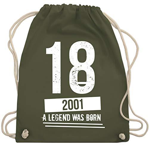 Geburtstag - 18 Geburtstag Jungs 2001 - Vintage Motiv - Unisize - Olivgrün - WM110 - Turnbeutel & Gym Bag
