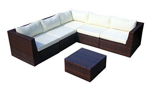 Baidani Gartenmöbel-Sets 10c00022.00002 Designer Rattan Lounge-Garnitur Surprise, Sofa, Couchtisch mit Glasplatte, braun