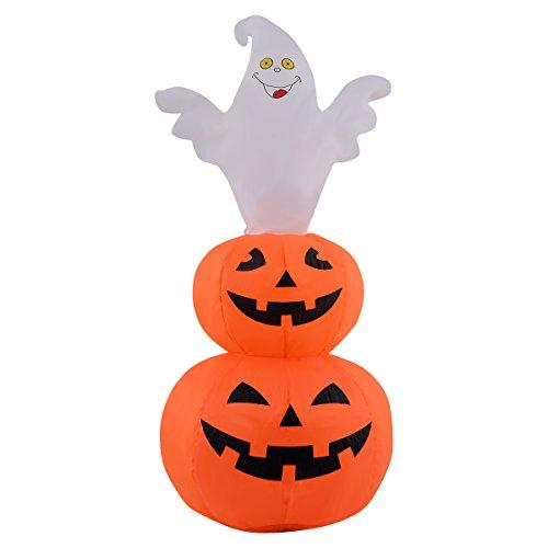 Goplus Halloween Aufblasbar Deko Geist Kürbis Luftfiguren LED Beleuchtet Ghost Hexe Party mit LED Beleuchtung 120cm