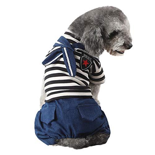 Moodn Kostüm Hund Kostüm Für Haustiere Winter Herbst Cute Mode Bequemes Nice Weichesl Party Für Kleine Hunde Modern Leichte Chic Tier Denim Costume Einfach Festliche Kleidung Gestreift T-Shirt (Shirt Denim Halloween-kostüm)