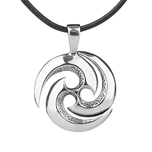 Celtic Tri Spiral - Keltischer Anhhänger aus Edelstahl mit Lederband
