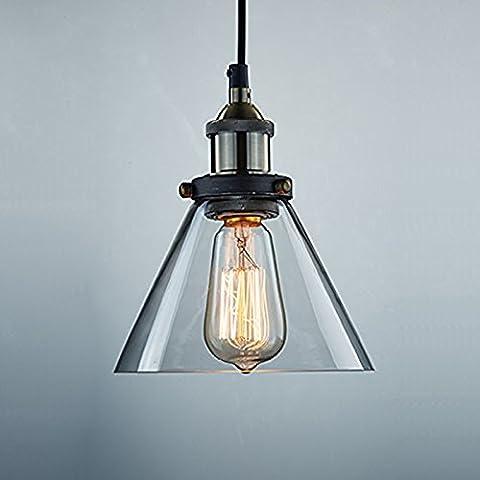 KLSD Ombra Edison vetro industriale Vintage Mini sospensione del cono Lampada soffitto dello schermo per (Illuminazione Decorativa A Sospensione Illuminazione)