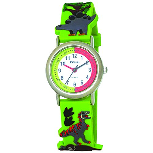 Image of Ravel Cartoon Dinosaur 3D Children's Quartz Watch with White Dial Analogue Display and Multicolour Plastic Strap R1513.59