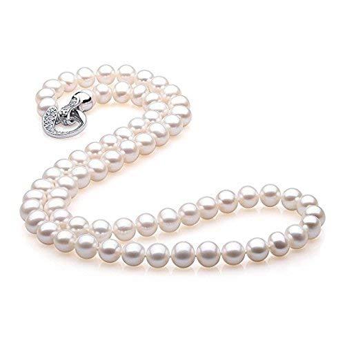 StunningBoutique Elegante set collana di perle naturali d'acqua dolce, lunghezza 82cm, perle da 10-11mm, bianco, in una bella confezione regalo