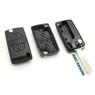 Funkschlüsselgehäuse mit 4 Tasten, für Citroen C8, mit Rille