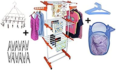 TNC Pure Stainless Steel Garment Rack with a Cloth Dryer Stand, Multicolour (Pack of 6)