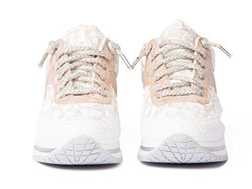 Baskets 2 Star en cuir et tissu blanc et beige - Code modèle: 2SG 1101 Beige