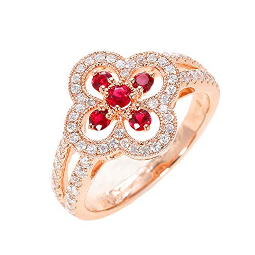 0,32 cttw Natural Ruby and Diamond (0.48 cttw, F-G Color) 18K Rose Gold Ring, Engagement Ring geeignet für Frauen,7(14.4mm)