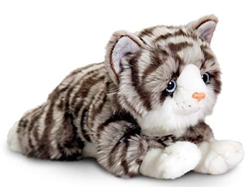 Lashuma Plüschtier Katze Kayla | Stofftier grau getigert | Kuscheltier liegend 25 cm