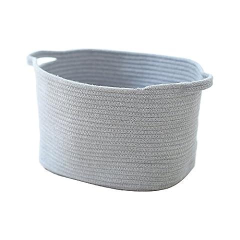 Hoffom Grande contenance pliable en lin Coton Corde Panier de rangement Panier à linge avec poignées