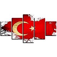 ZAINALIA Cartel Lona Moderna Imagen HD Impreso Marco de Pared 5 Unidades  Turquía Bandera Nacional Sala 1f883575da8