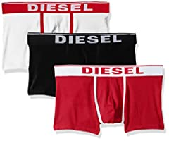 Idea Regalo - Diesel UMBX-DAMIENTHREEPACK, Slip Uomo, Multicolore (Bright White/Chinese Red/Black E4119-0Jkkc), L, Pacco da 3