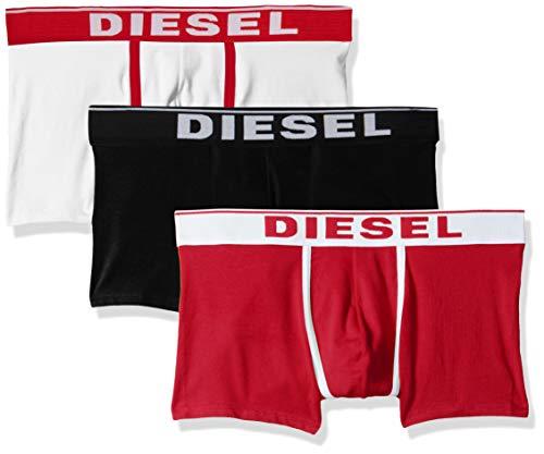 Diesel Herren UMBX-damienthreepack Unterhose, Mehrfarbig (Bright White/Chinese Red/Black E4119-0Jkkc), Large (erPack 3