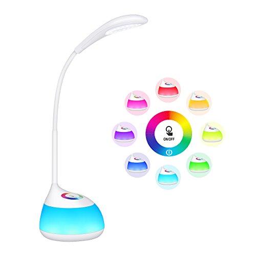Schreibtischlampe für Kinder TOPELEK 16 LED Dimmbare Nachttischlampe mit Touch Control, Nachtlicht, 3 Helligkeitsstufen und RGB 256 Farblicht für Kinderzimmer, Lesen, Studieren, Arbeit