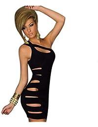 Blansdi sexy Clubwear Mini Slim Fit Soirée Cocktail manches Une épaule Asymmmetry Découpez Hallow robe