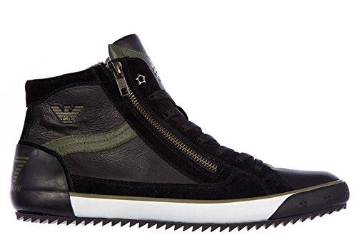 EA7 Emporio Armani Scarpe Paire de chaussures montantes pour homme en cuir Noir Multicolore