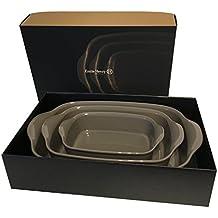 Emile Henry eh959750Set di 3piatti da forno, ceramica, carboncino, 36x 23x 7cm