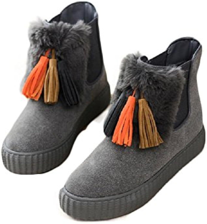 Frauen Stiefel Stiefel Damen Stiefeletten Warmer Winter Wildleder Runder Kopf in der Röhre Wohnung mit Freizeitö