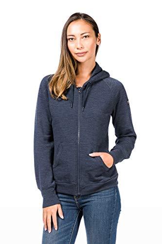 super.natural Warme Damen Fleece-Jacke, Mit Merinowolle, W COMFORT HOODIE, Größe: XL, Farbe: Dunkelblau Super Warme Jacke