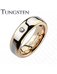 Wolfram Ring Bi-Coloured Red Gold with Rhinestone / Ring Width 6 mm (Select your Size)