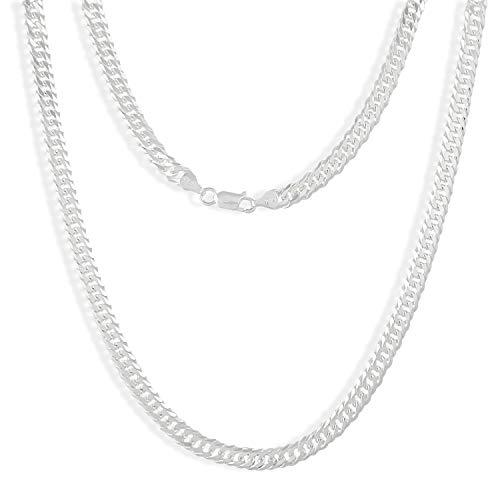 TAIPAN Silberkette Herren Doppel Panzerkette glänzend 60cm 6mm echt 925 Sterlingsilber Halskette für Ihn inkl. ()