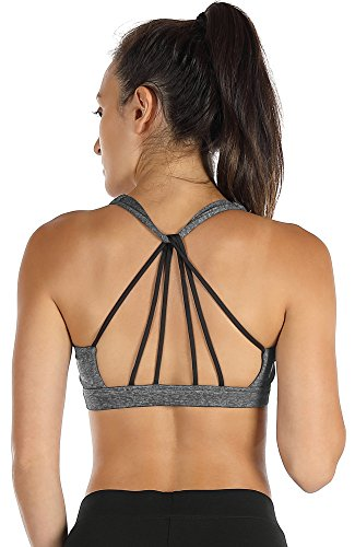 icyzone Sport BH Damen Yoga BH mit Gepolstert - Starker Halt Fitness-training Strech BH Bustier Push up Top ohne Bügel Sports Bra (S, Charcoal)
