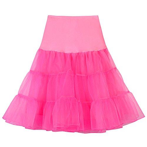 LABIUO Frau Tutu Mode Hohe Taille Plissee Prinzessin Rock Mesh Bubble Rock Party Maskerade Samba Kleid(Wassermelone,X-Groß)