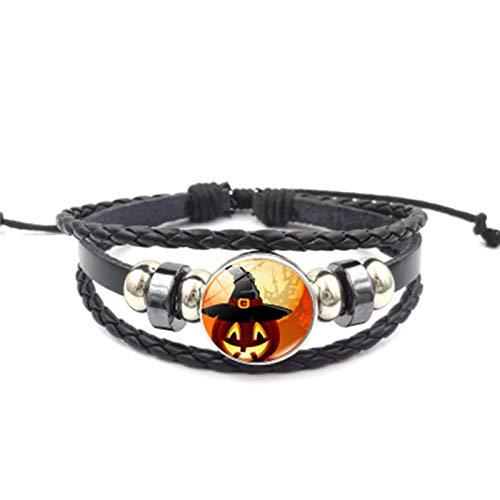 Blisfille Halloween Kürbis Zeit Edelstein Geflochten Perlen Armband Mode Damen Armband Damen Herren Alltag (Halloween Annabelle Kostüm)
