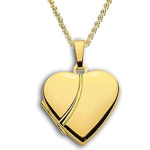 Herz Medaillon verziert hochglanz 333 Gold Muttertag Valentinstag Verlobung Liebe Schmuck Amulett hochglanz mit Verzierung. Von Haus der Herzen®