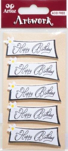"Artoz Artwork 3D Motiv-Sticker, \""Geburtstag\"" (Schild Happy Birthday), handmade"