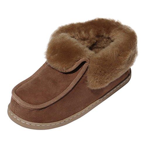 Peau de mouton Chaussons - PARKER Femmes Chaussures avec laine marron Marron