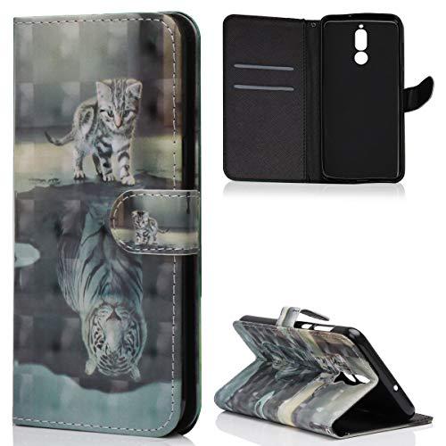 Huawei Mate 10 Lite Hülle,ZCXG Hülle Leder 3D Magnet Stand Flip Cover Ledertasche Tasche Tier Muster Schutzhülle Frau Brieftasche Damen Klapphülle Case Handyhülle Huawei Mate 10 Lite