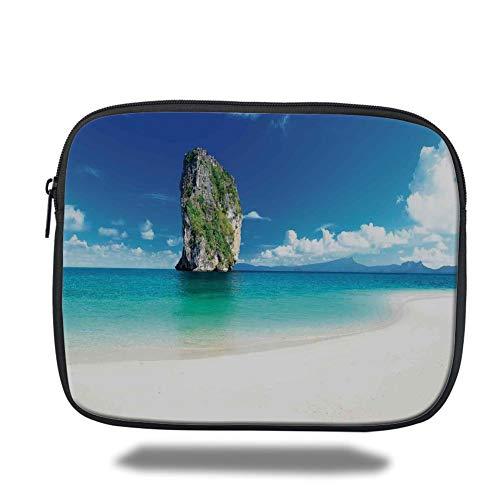 Tablet Bag for Ipad air 2/3/4/mini 9.7 inch,Ocean Island Decor,Big Tall Poda Cliff Rock in The Sea in Asian Coastline Exotic Vacation Scene,Blue White Cream (Big And Womens Tall)