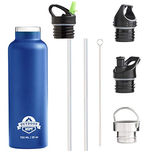 OUTDOOR DEPT Isolierte Edelstahl Trinkflasche 750 ML 4 Deckel BPA frei - für Kohlensäurehaltige Getränke.