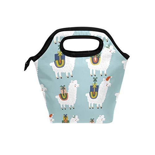 hunihuni Weihnachten Lama Alpaka Isolierte Thermo Lunch Kühltasche Tote Bento Box Handtasche Lunchbox mit Reißverschluss für Schule Büro Picknick