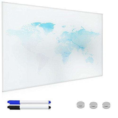 Navaris Magnettafel Weltkarte Memoboard aus Glas - Magnetwand 60x40 cm zum Beschriften - Magnetische World Map Tafel inkl. Magnete Stift Halterung (Blech Magnetwand)