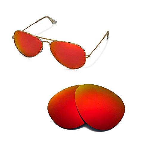 Walleva Ersatzgläser für Ray-Ban Aviator Large Metal RB3025 62mm Sonnenbrille - Mehrfache Optionen (Feuerrot Mirror Coated - Polarisiert)