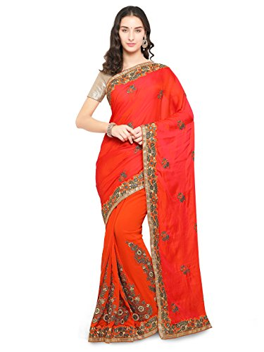 I-Brand Saree With Blouse Piece (ISUNSA2462_Orange_Orange_Free Size)