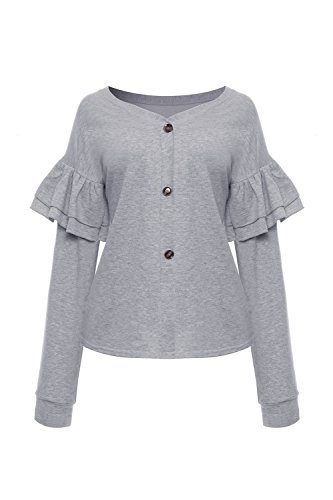 Yacun Femmes les Tees Tops Froisser Bouton Manches Longues Grey