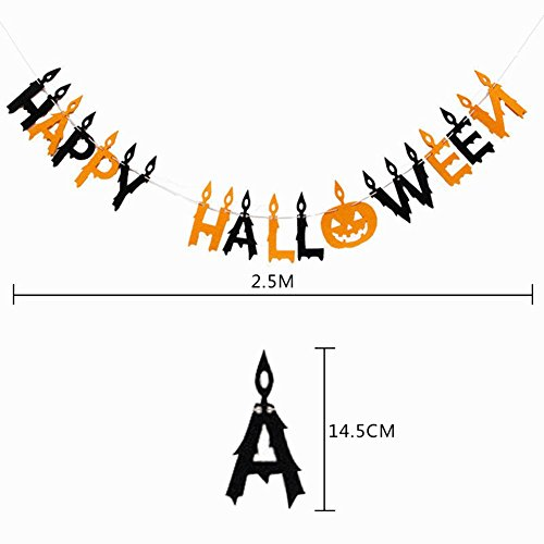 uesae Halloween Banner Wimpelkette Pennant Kerze Stil Halloween Dekorationen Maske Kostüm Party Cosplay Karneval Zubehör Make Up Thema Party 2,5 m 1 PCS