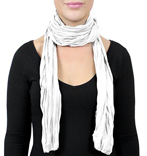 Sommer Farben (ADAMANT® Schal, verschiedene Farben, 180 cm x 40 cm - Modischer Damen Schal für Business und Alltag (weiß))