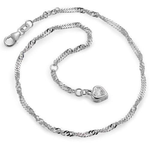 Fusskettchen Silber Zirkonia Herz Ø2.5 mm, Durchmesser: 2.5 mm, Kettenart: Singapur, Motiv: Herz, Verschluss: Karabiner