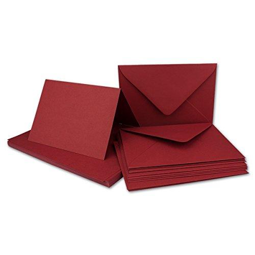 20x Faltkarten Set mit Brief-Umschlägen Dunkelrot/Weinrot - DIN A6 / C6-14,8 x 10,5 cm - Premium Qualität - FarbenFroh® von Gustav NEUSER®